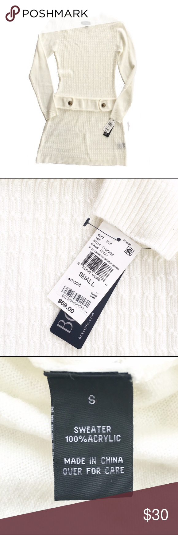 5a7357e7ee3 NWT BCX sweater dress Brand new with tags! Of white  cream sweater dress  from BCX dress