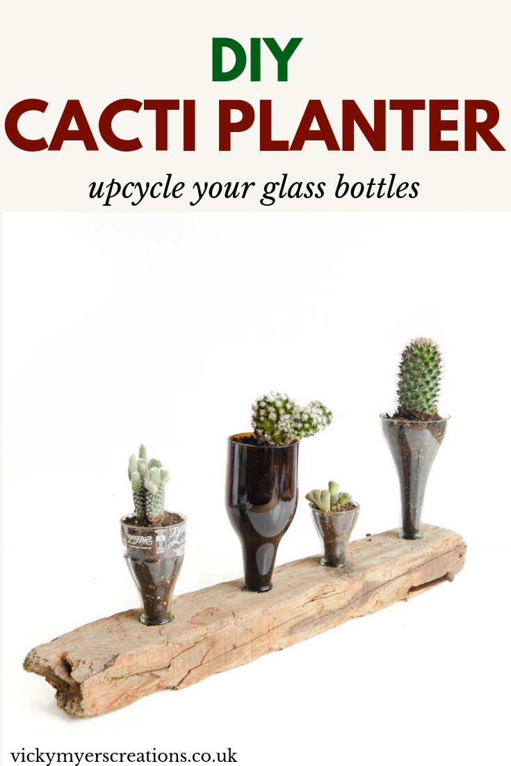 Creative things to do with glass bottles  upcycled cacti planter is part of Upcycled planter, Cactus planter, Upcycle glass, Glass bottles, Upcycle, Woodworking projects diy - Learn how to cut glass bottles, one half makes beautiful upcycled glass vases, the other stunning upcycle cacti indoor planters