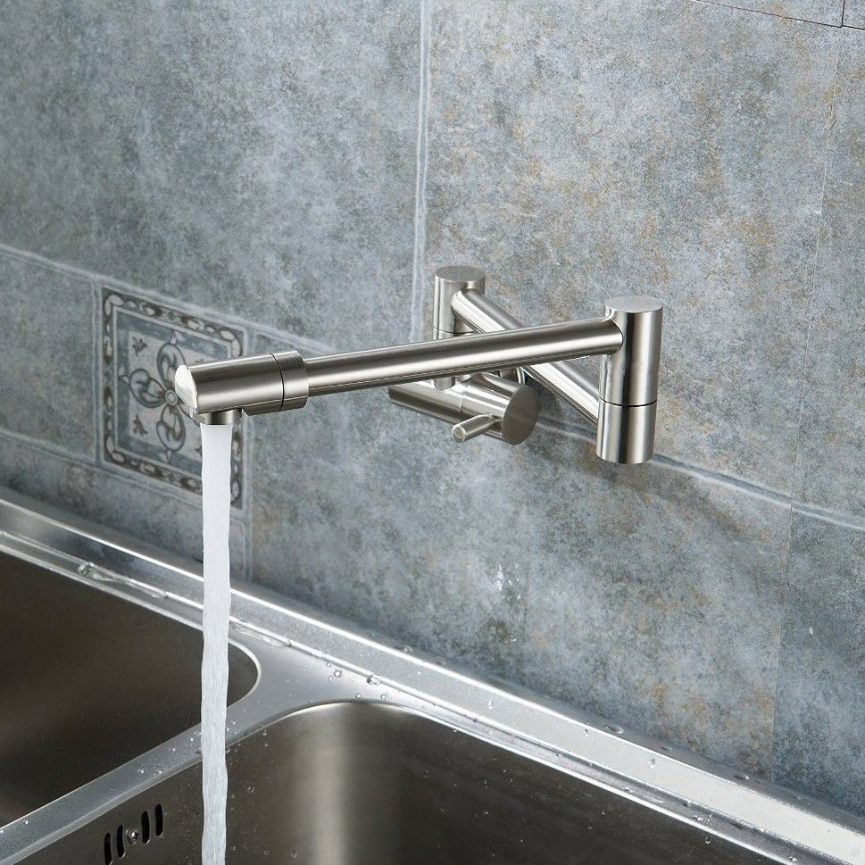 Modern single lever wall-mount retractable Pot Filler mixer tap ...