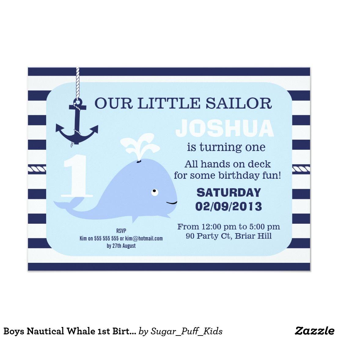 boys nautical whale 1st birthday invitation happy birthday
