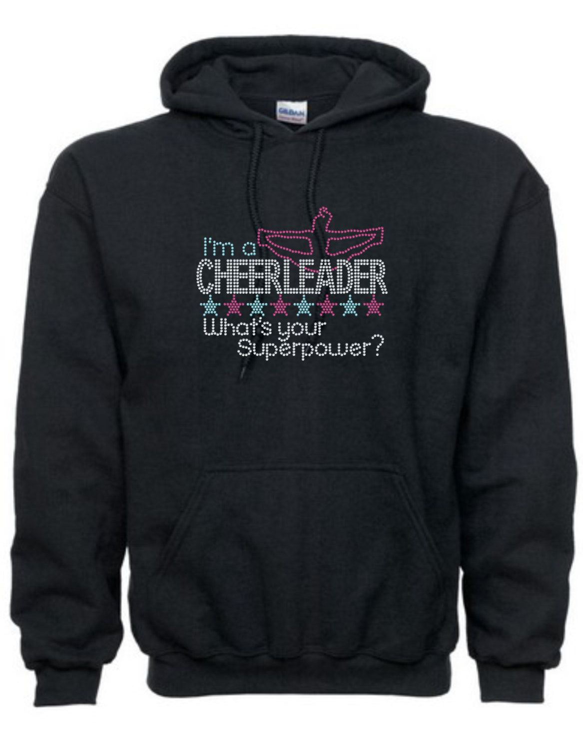 Rhinestone I'm A Cheerleader What's Your Superpower? With Cheer Flyer Cheerleading Cheer Hoodie Sweatshirt Many Colors by teamasportsbling on Etsy https://www.etsy.com/listing/160680081/rhinestone-im-a-cheerleader-whats-your