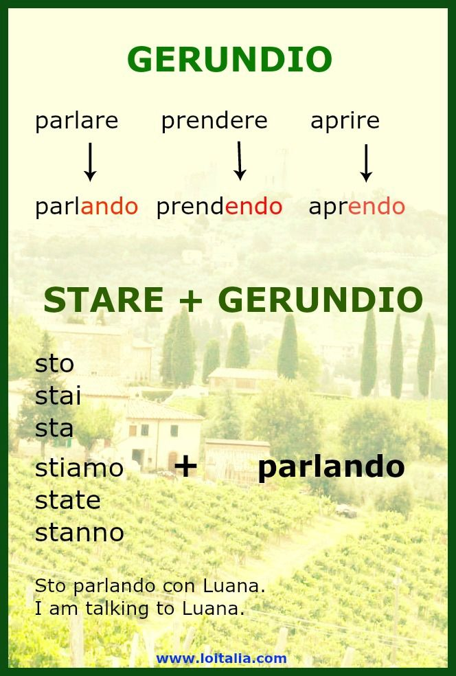 The gerund = Il gerundio | Lesson of Italia