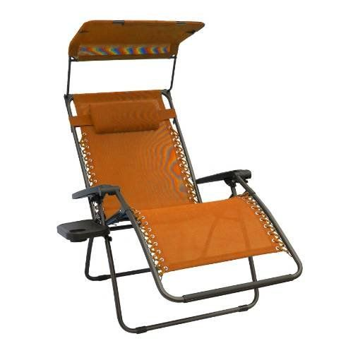 Special Offers Bliss Hammocks Wide Gravity Free Lounger With Pillow Canopy Side Tray Terra Cotta In Outdoor Rocking Chairs Zero Gravity Chair Patio Chairs