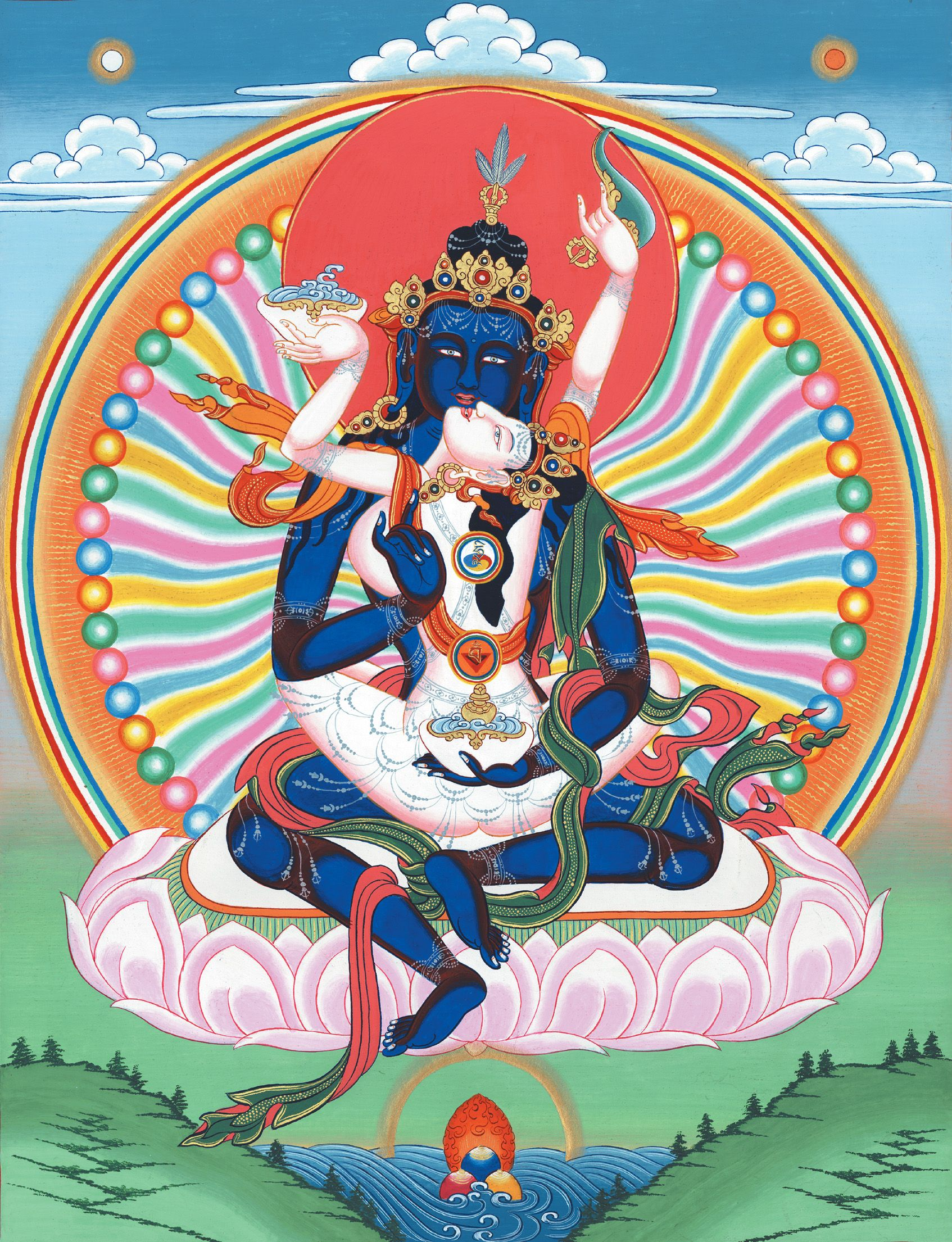 Samantabhadra (blue buddha) and Samantabhadri (white consort) in yabyum.
