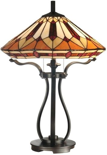 New Dale Tiffany 2 Light Table Lamp BrownAmber Geometric