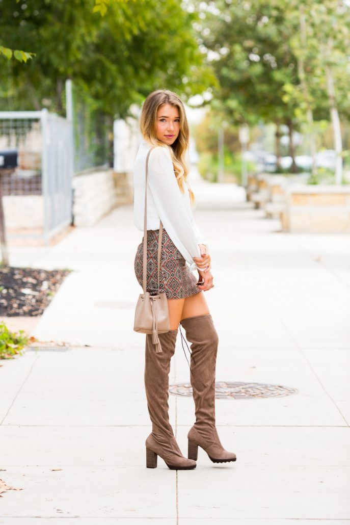 8f34a6468 Patterned & Pretty: Mini Skirt and Over the Knee Boots. This WHOLE Look can…