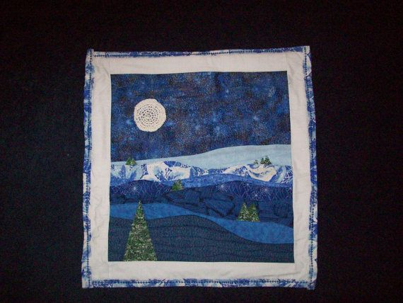 Blue Moon Landscape Quilt Quilted Wall Hanging Of