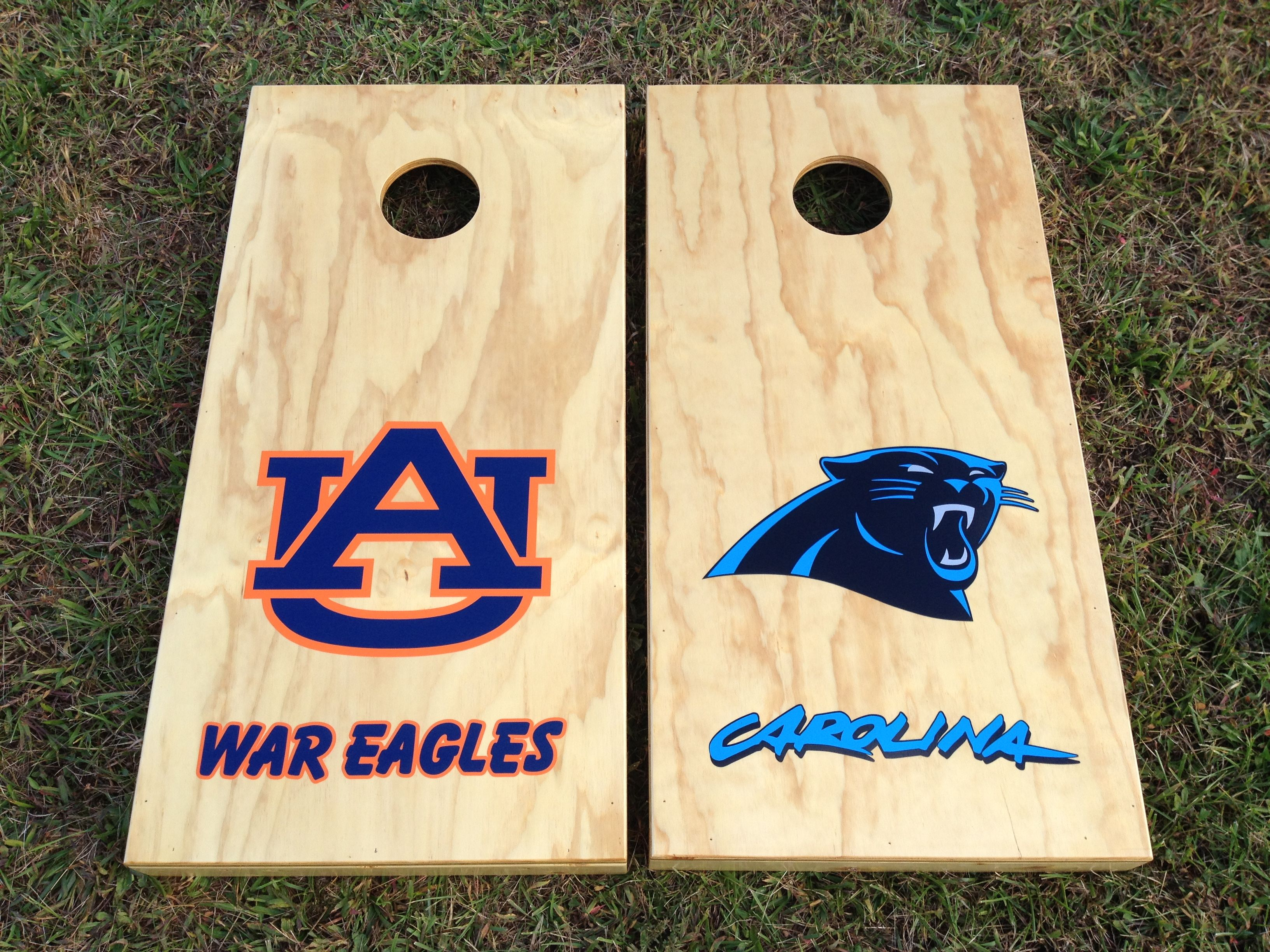 Panther And Auburn Cornhole Boards My Husband Calls This The Cam Newton Special Made Custom By Martys Carolina Corn Cornhole Boards Cornhole Crafts