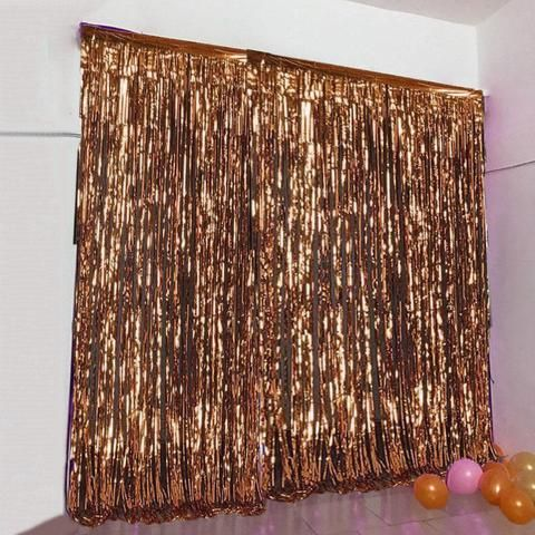 8ft Blush | Rose Gold Metallic Foil Fringe Curtain #curtainfringe