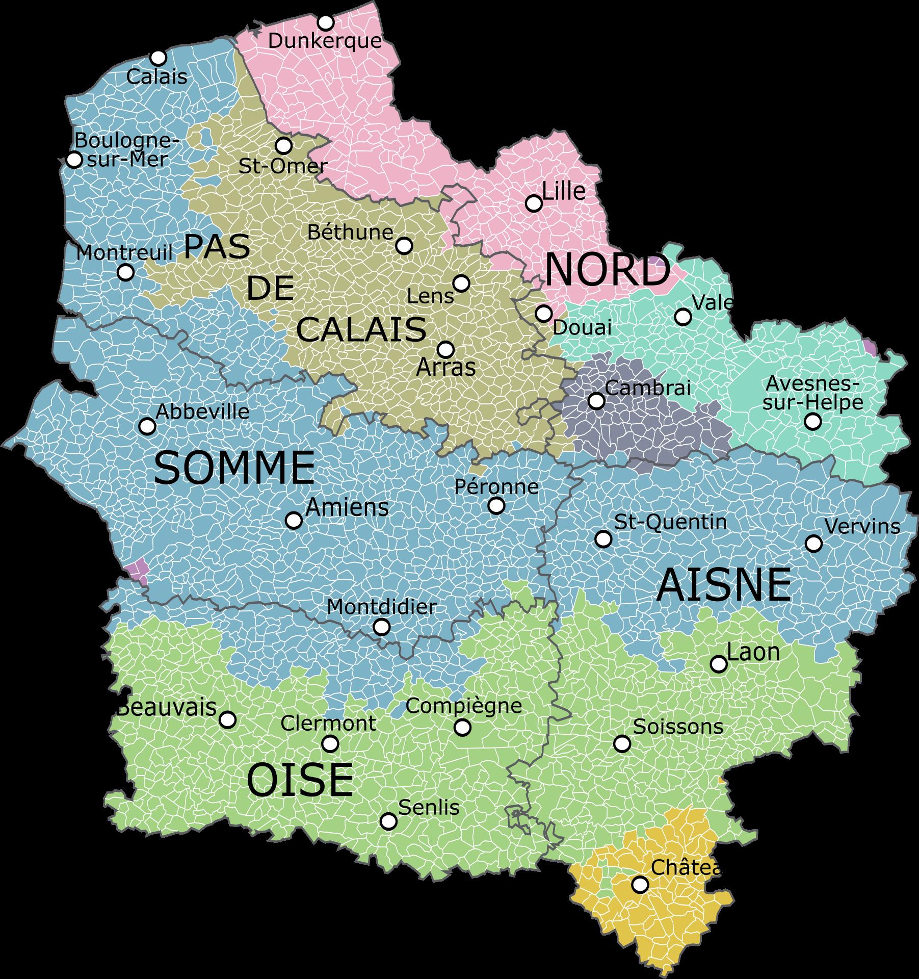 Nord Pas De Calais Picardie Carte Des Regions Carte De France Region Calais