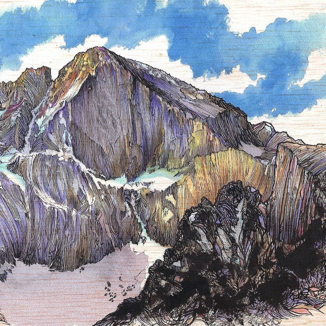 From @jercollins_com >> National Park Week on top of John Muir's birthday on top of Earth Day?! This week is EPIC! I can't wait for the snow to melt off of The Diamond on Longs Peak for the summer season in @rockynps! Drew this one last year - after my 11th trip up the Diamond (northeast face) I finally went to the summit for the first time with Mr Dawnwall @tommycaldwell.  Who's been up there?  #natgeoearthday by natgeoadventure