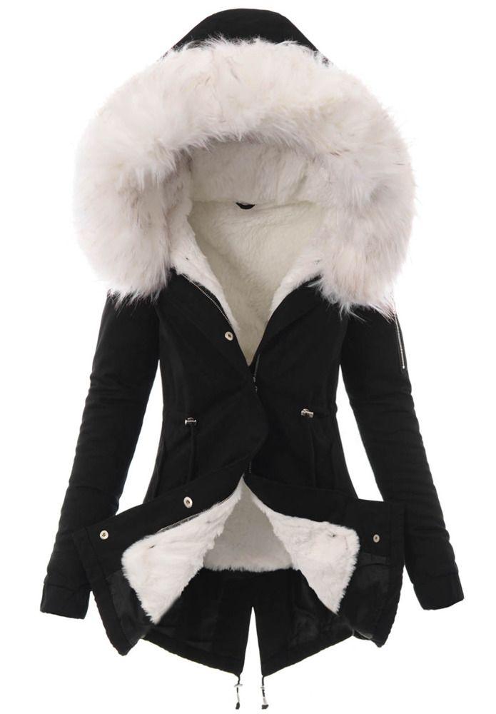 Piekna Damska Kurtka Parka 2w1 Emilia Czarna Z Bialym Futerkiem Fashion Women S Blazer Jackets