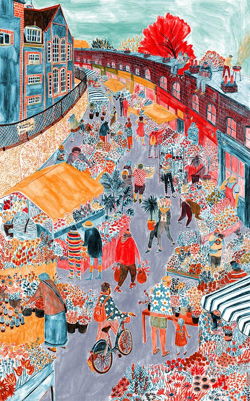 Columbia Road flower market   illustration by Mouni Feddag