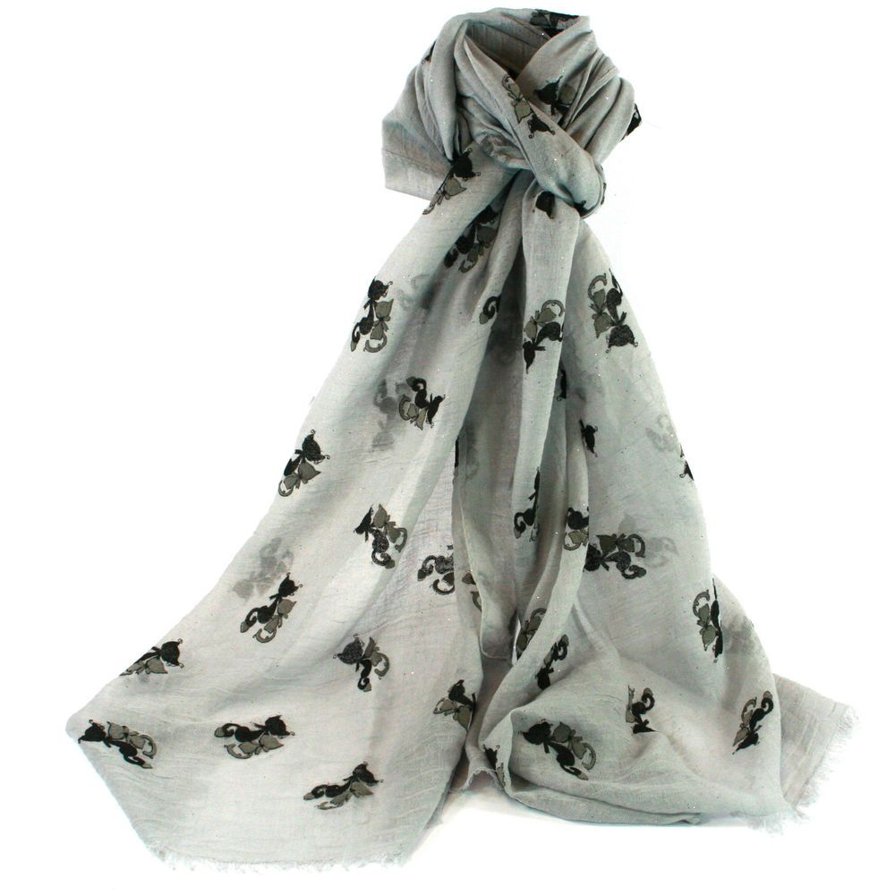 Details about lightweight batia grey with black cats scarf