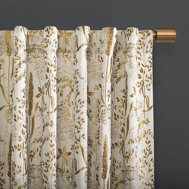 Aubry Shimmering Floral Max Blackout Thermal Tab Top Single Curtain Panel Tab Curtains Panel Curtains Curtains