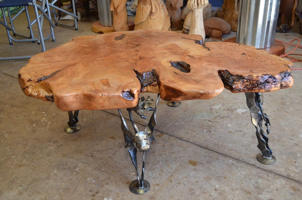 Maple Burl Coffee Table With Forged Steel Legs I Made The Legs