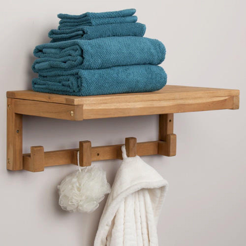 Signature Hardware Teak Towel Shelf with Square Hangers
