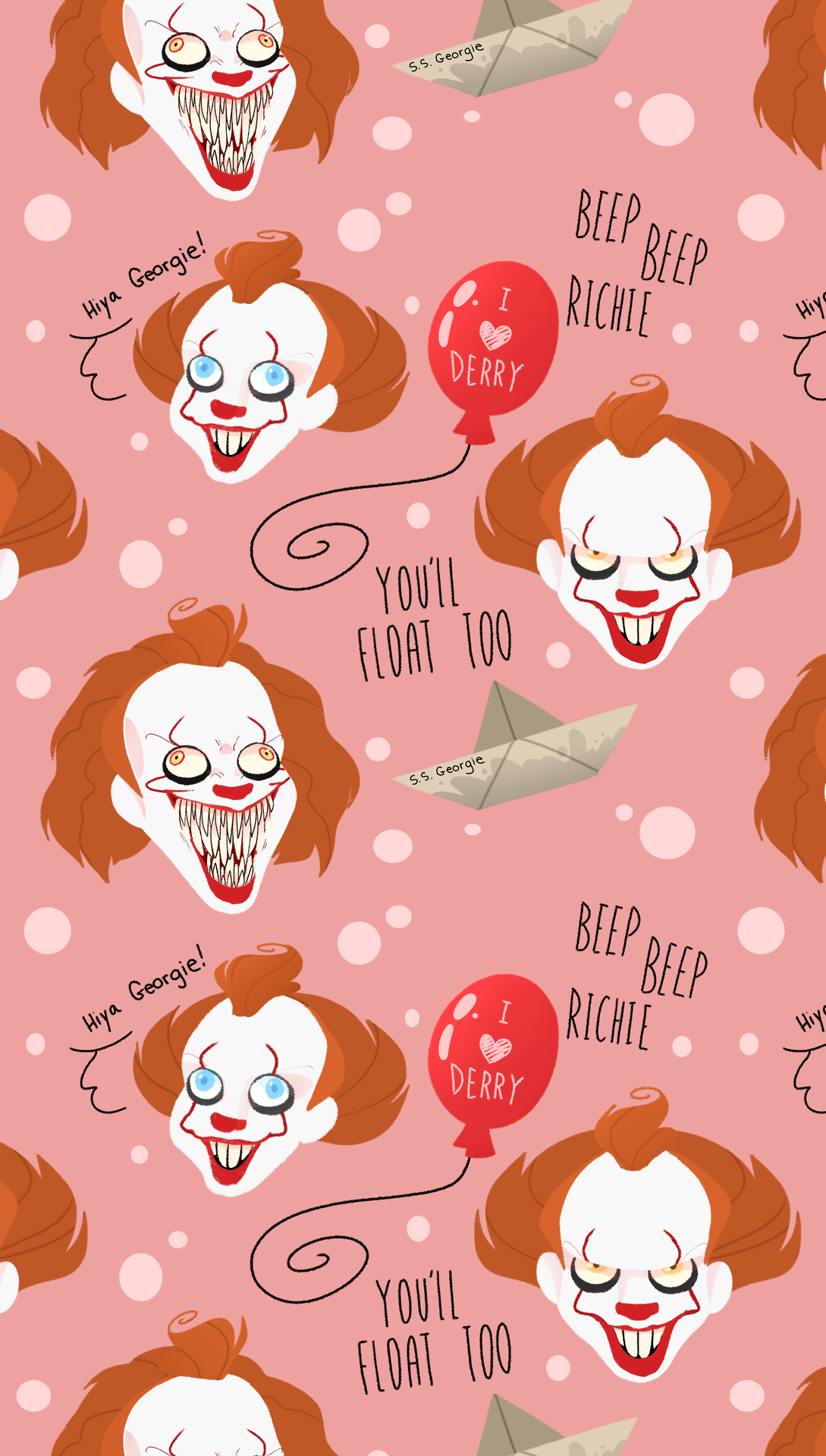 Drew Some Pennywise Tiled Background For Your Tumblr Page Free To Use Credit Me P Imagem De Fundo Para Iphone Papeis De Parede Para Iphone Wallpapers Bonitos