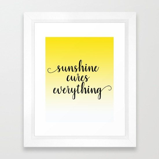 Sunshine Art Prints, 8x10 Print On Canvas, Yellow Wall Art Quotes ...