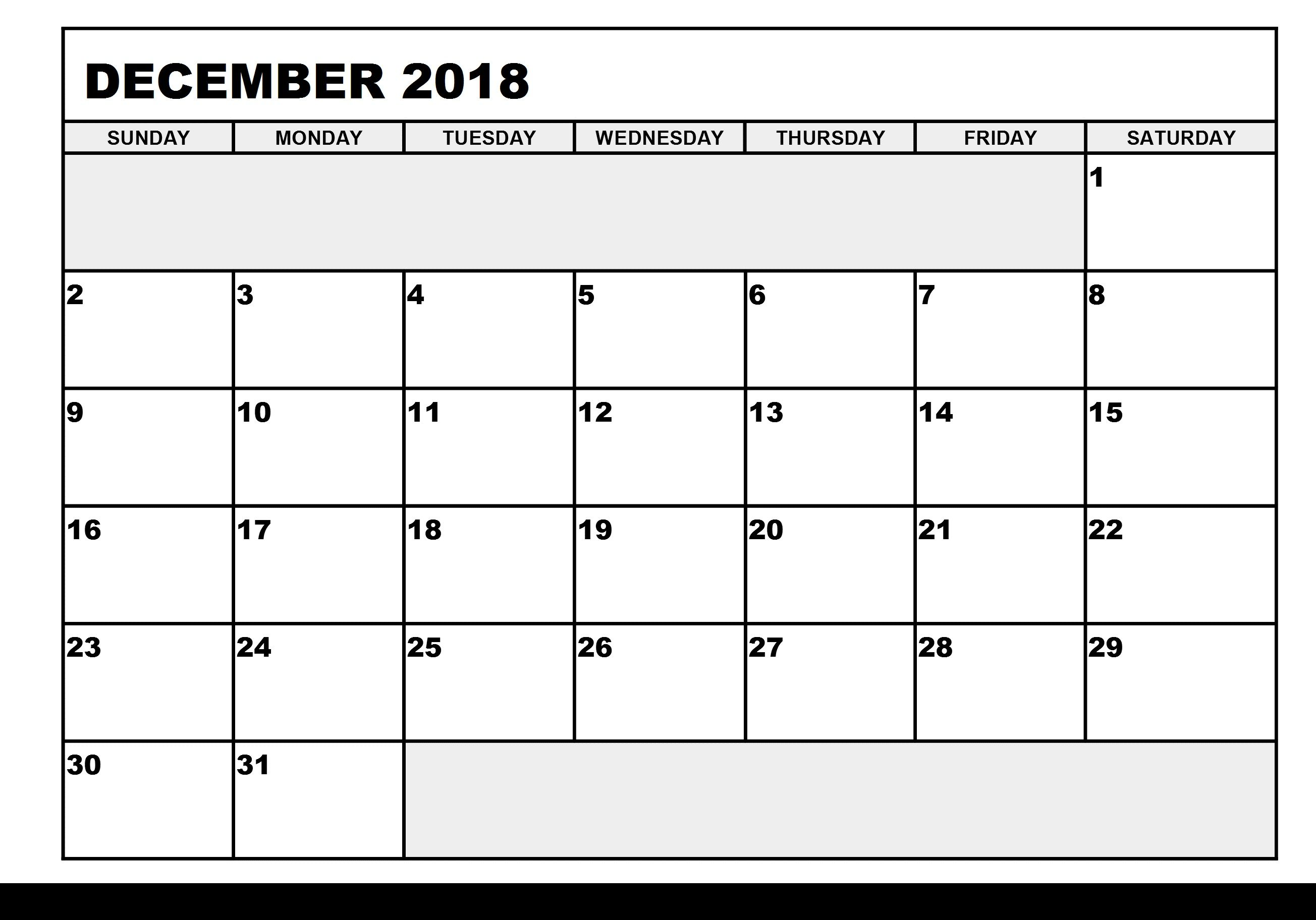 image relating to December Calendar Printable With Holidays named December 2018 Printable Calendar with Vacations December
