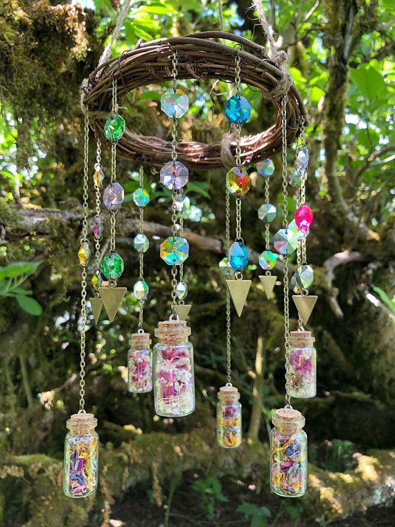 Bohemian Sun Catcher Mobile, Chandelier Crystal Prisms, Chakra, Suncatcher, Gypsy, Boho, Home Decor, Hanging, Dried Flowers, Gift For Her #outdoorflowers