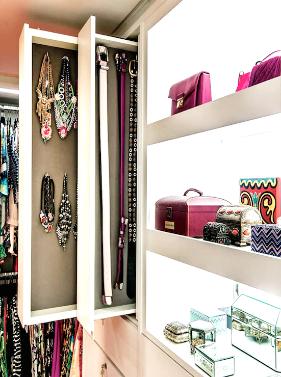 Glam Walk In Closet Features Built In Shelves Filled With