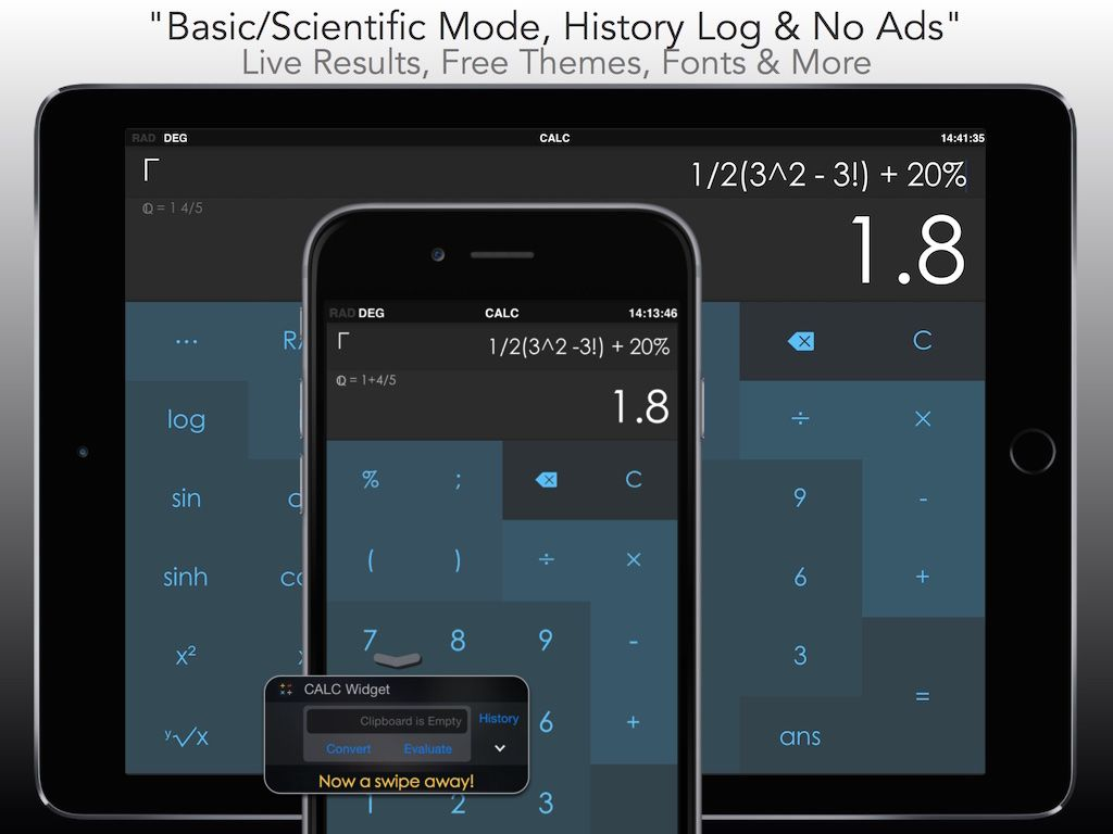 Sick of Ads? CALC is a Free Smart Calculator with an Widget . Featured in the App Store in Utilities and Productivity Essentials 101 :-)