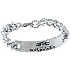 Stainless Steel Seattle Seahawks Link Bracelet