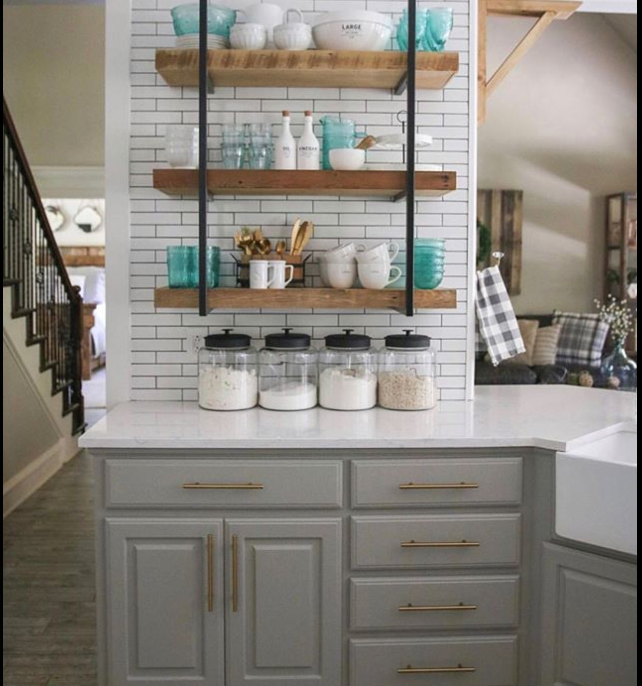 Best Shanty To Chic Sherwin Williams Dorian Gray Cabinets 400 x 300