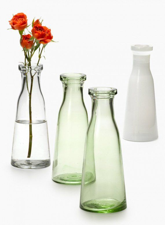 Clear Green White Milk Bottle Vases