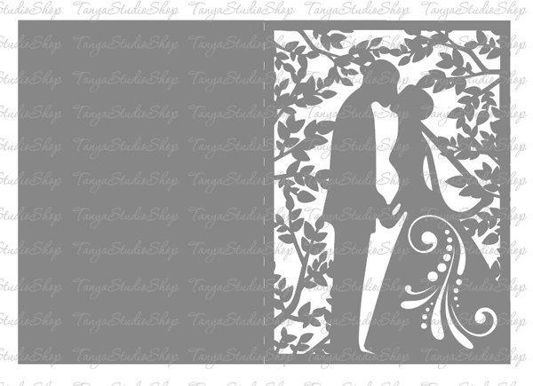 Свадебная открытка вытынанка трафарет, любви для