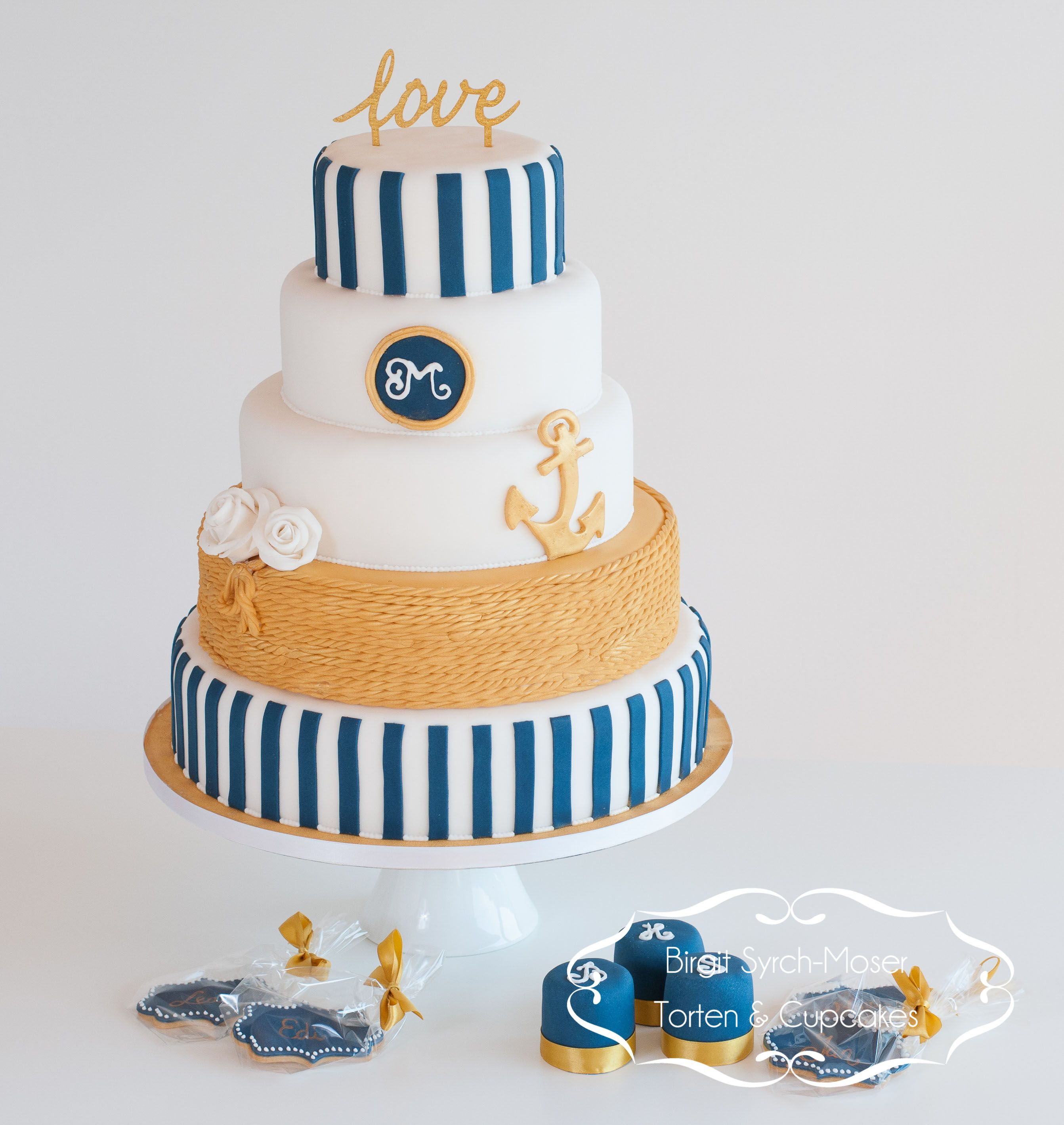Maritime Wedding Cake Blue Gold White Anchor Cupcakes Cookies Bolo