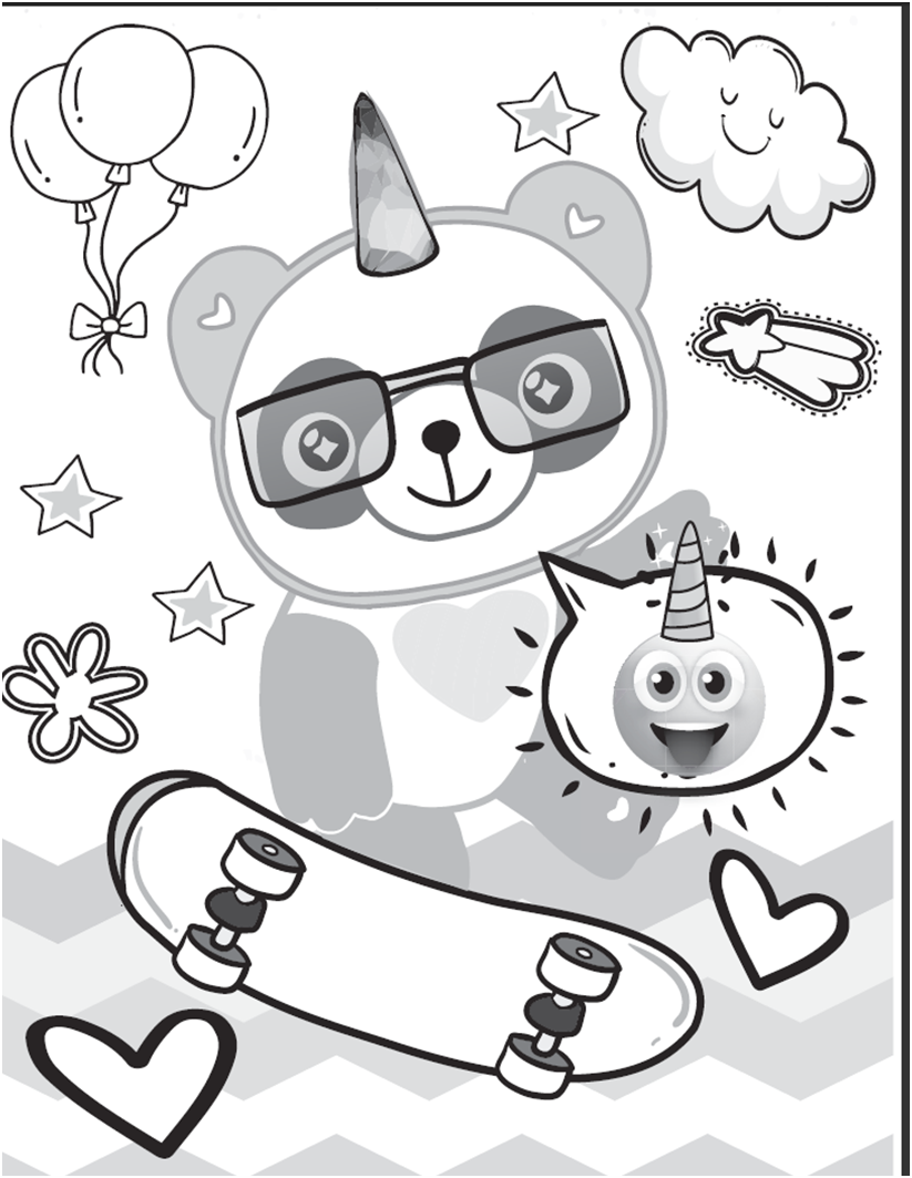 Downloadable Colouring Page From The Panda Unicorn Colouring Book Volume 1 Unicorn Coloring Pages Coloring Books Magical Book