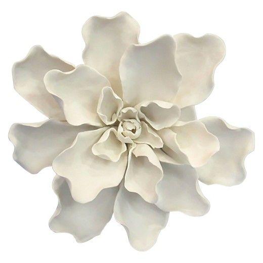 White ceramic flower wall decor
