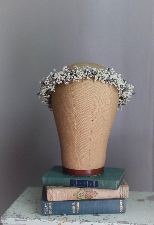 Babys breath with lavender flower crown bridal hair