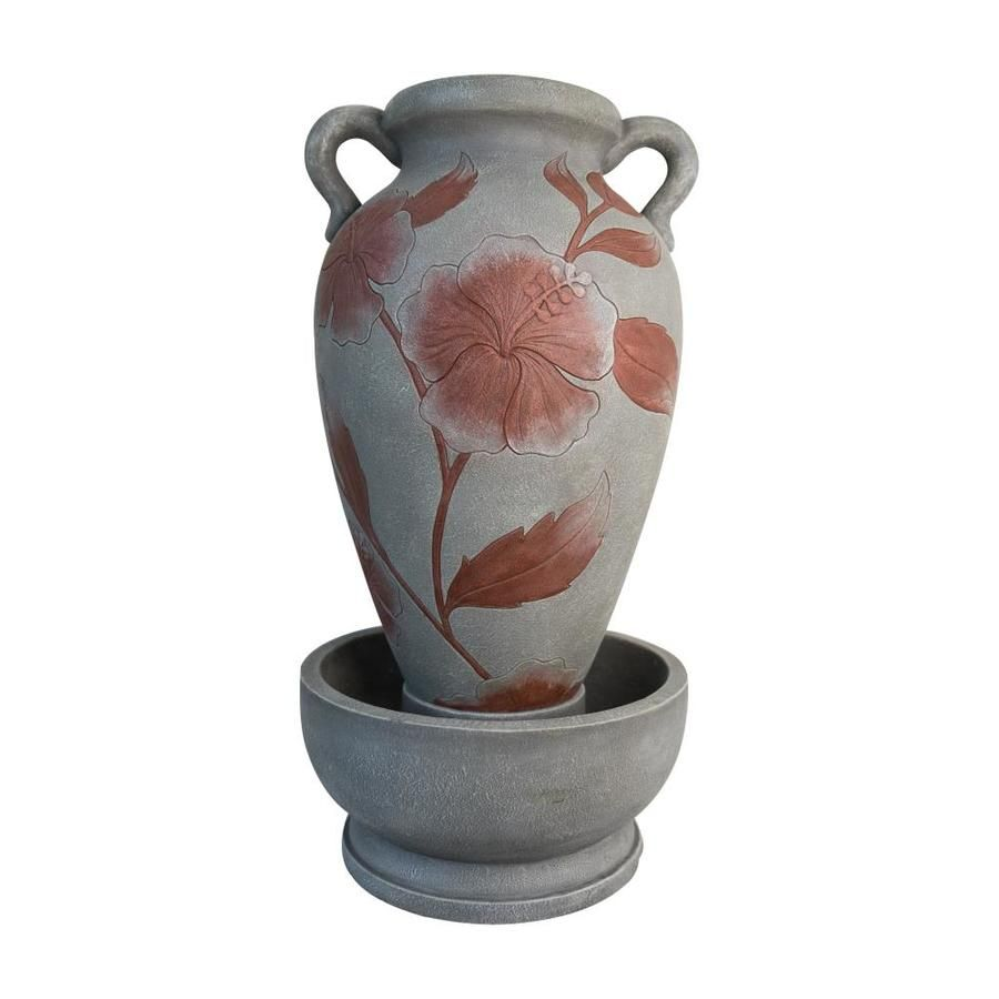 129 00 Garden Treasures Fl Vase Fountain 34 76 In Resin Statue Large Water Basin Provides