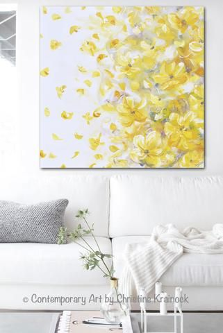 Original Art Yellow Grey Abstract Painting Modern Floral Gold