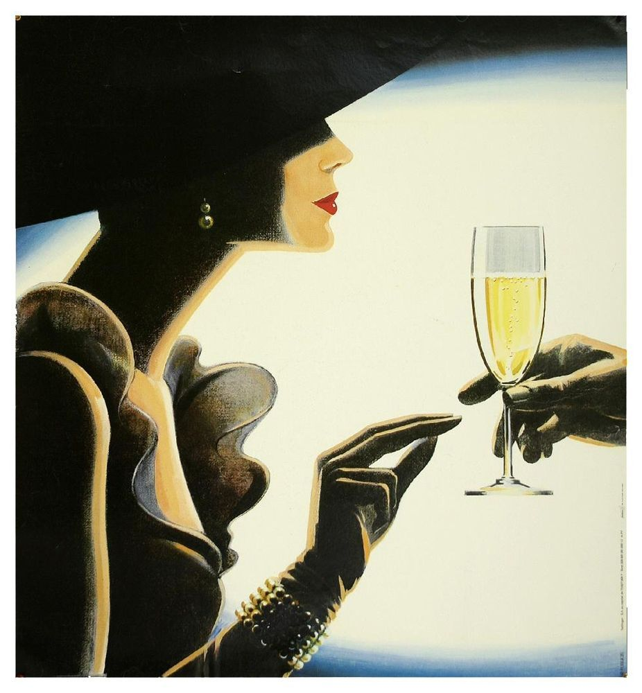 vintage art painting classy lady champagne advert choose  canvas or satin photo