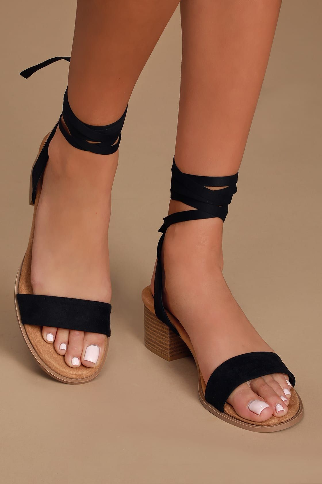 Tooly Black Suede Lace-Up Heels in 2020