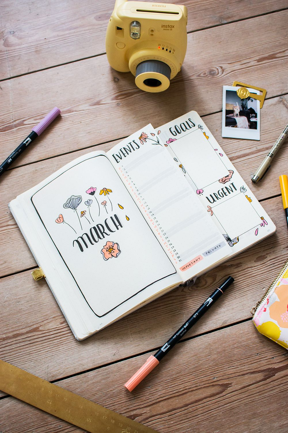 Plan with me: Bullet Journal Setup March 2019 - tea & twigs