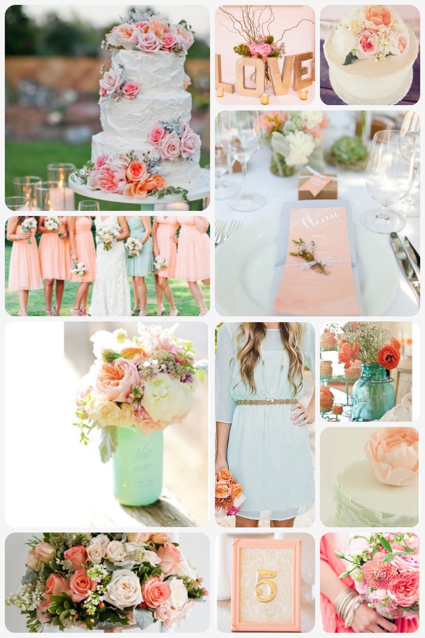 peach mint and gold wedding theme