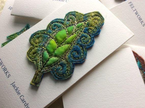 Paisley leafy felt embroidered brooch by JackieCardytextiles