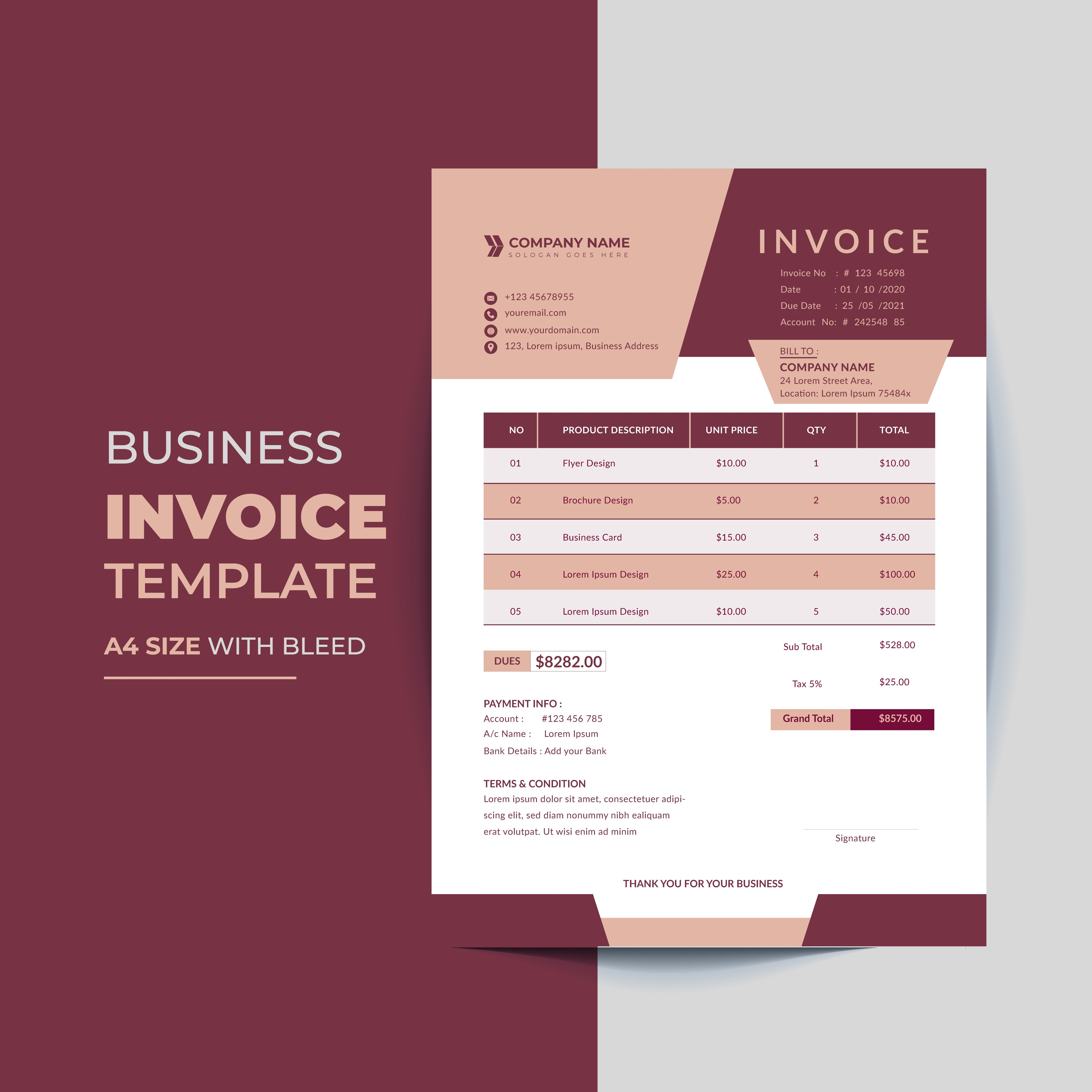 Clean And Minimal Business Invoice Template Vector Invoice Template Banner Ads Design Adwords Banner
