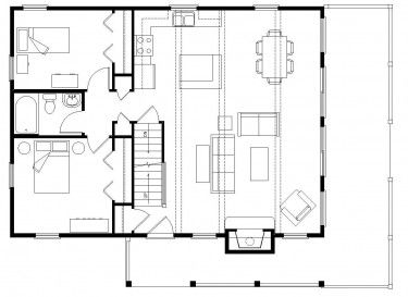 Simple Open Floor Plan With 2 Bedrooms Down And A Large Master Loft Up Loft House Design House Plan With Loft Tiny Houses Plans With Loft