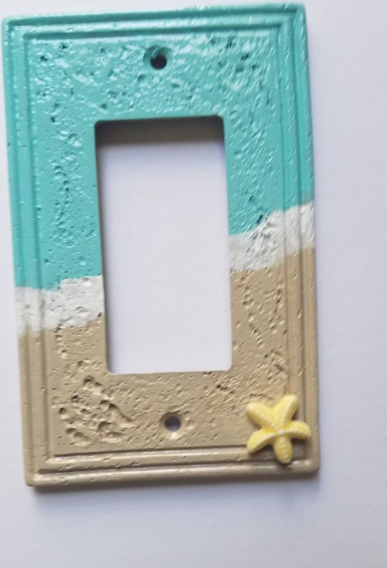 Beach Themed Rocker Plate Bathroom Decor Painted Switchplate