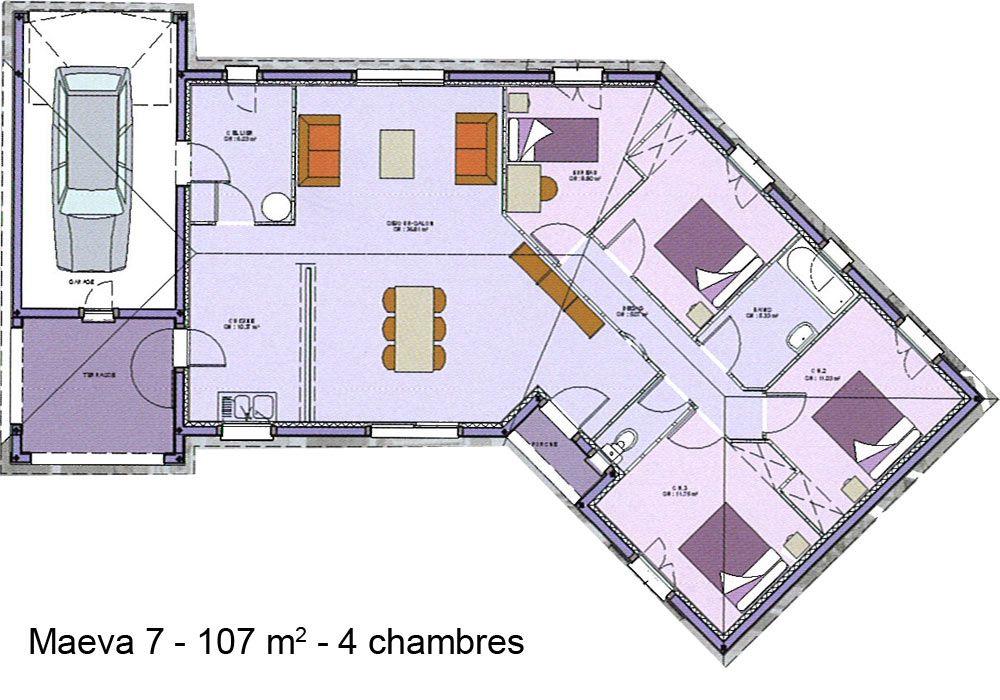 plan de maison en v 4 chambres