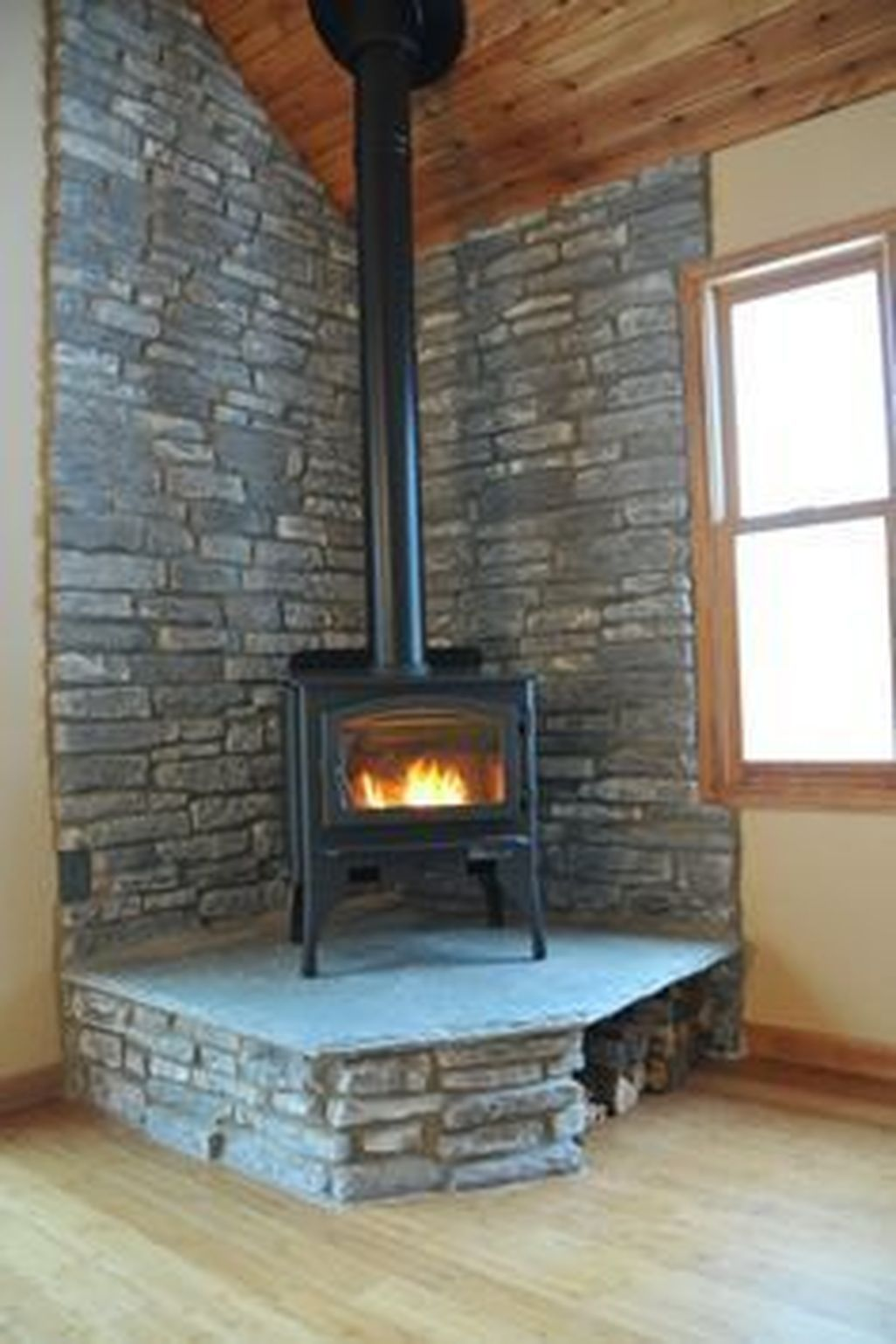 Nice 41 Inspiring Corner Fireplace Ideas In The Living Room More At Http Zyhomy Com 2018 09 06 Wood Burning Stove Corner Corner Wood Stove Wood Stove Hearth