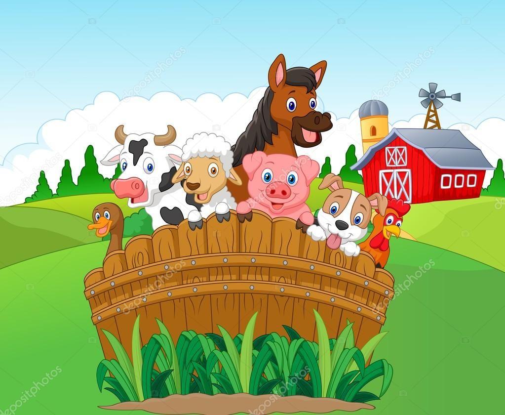 Ilustracion Vectorial De Dibujos Animados Coleccion De Animales De Granja Djur Pa Bondgard Tecknade Serier Karikatyr