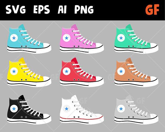 Converse Clipart Shoes Vector Clipart Sneakers Clipart Shoes