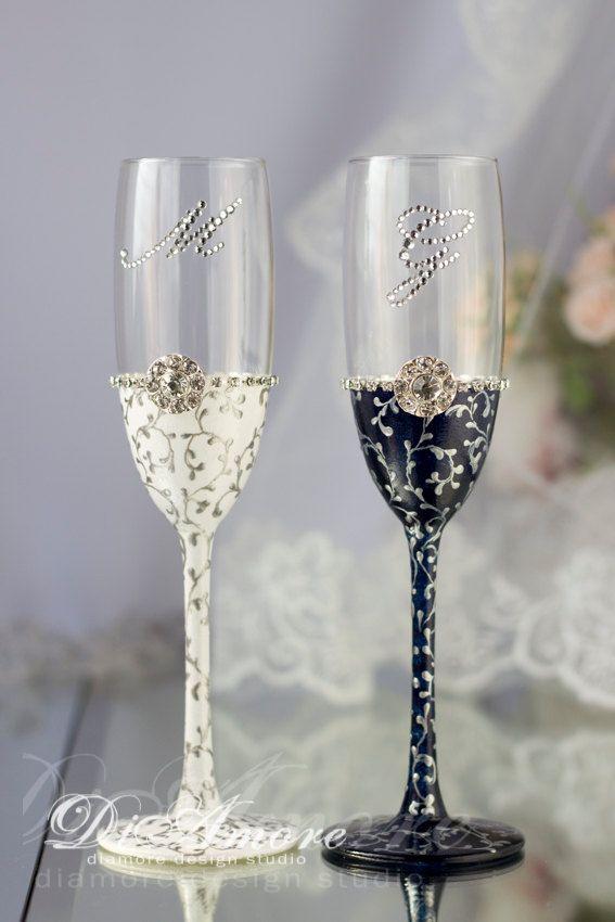 f7570a42341 Сrystal Engraved Wedding Glasses Bride and от DiAmoreDS на Etsy